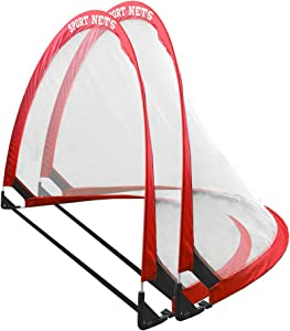 Hit Run Steal Portable Pop Up Soccer Goals Set of 2 - Two Folding Portable Soccer Goals with Carry Case - Available in 2.5ft, 4ft and 6 Foot Sizes. (2.5 Ft. (2 Goals + Bag))