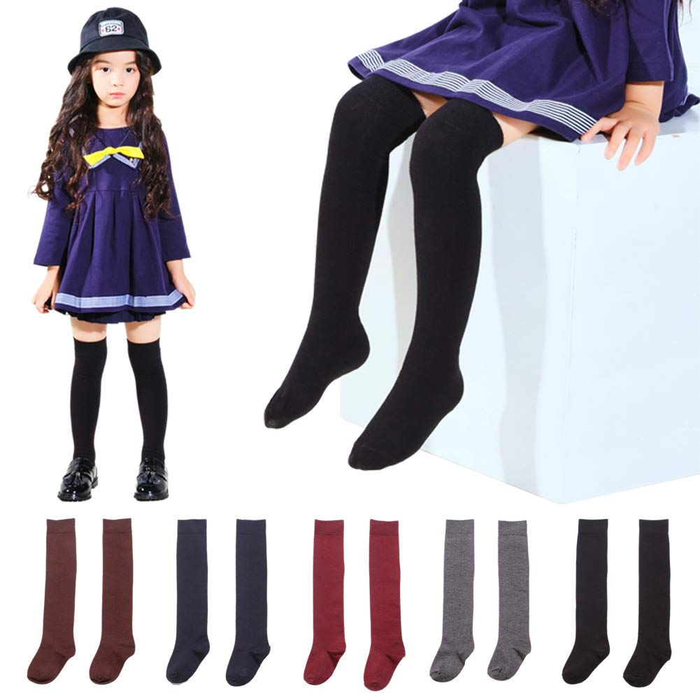 5 Pairs Little Girl Knee High Long Socks Cute Tube Stockings for Kids Girls 5 Pairs)