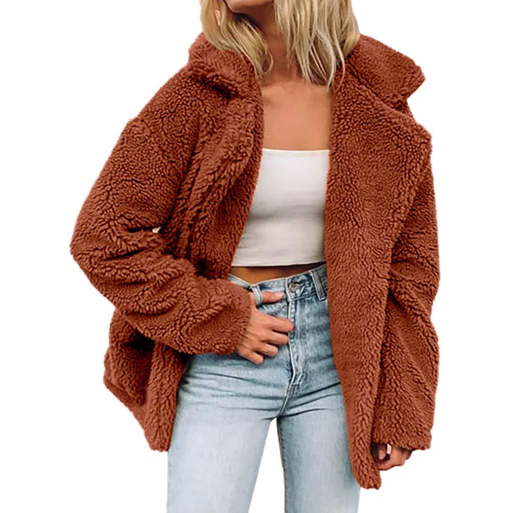 Redacel Women's Winter Long Sleeve Thick Hooded Open Front Cardigan Autumn Winter Warm Fuzzy Fleece Jacket Coat (XXXL,Brown) by Redacel