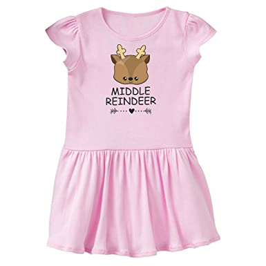 Amazoncom Inktastic Middle Reindeer With Heart Arrow Toddler Dress