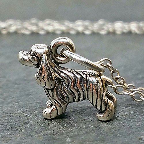 Tiny Cocker Spaniel Necklace - 925 Sterling Silver ()