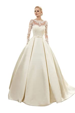 ikerenwedding Damen am Rücken Spitze Applikation Lang Ärmel A-Line Lange  Hochzeit Kleid: Amazon.de: Bekleidung