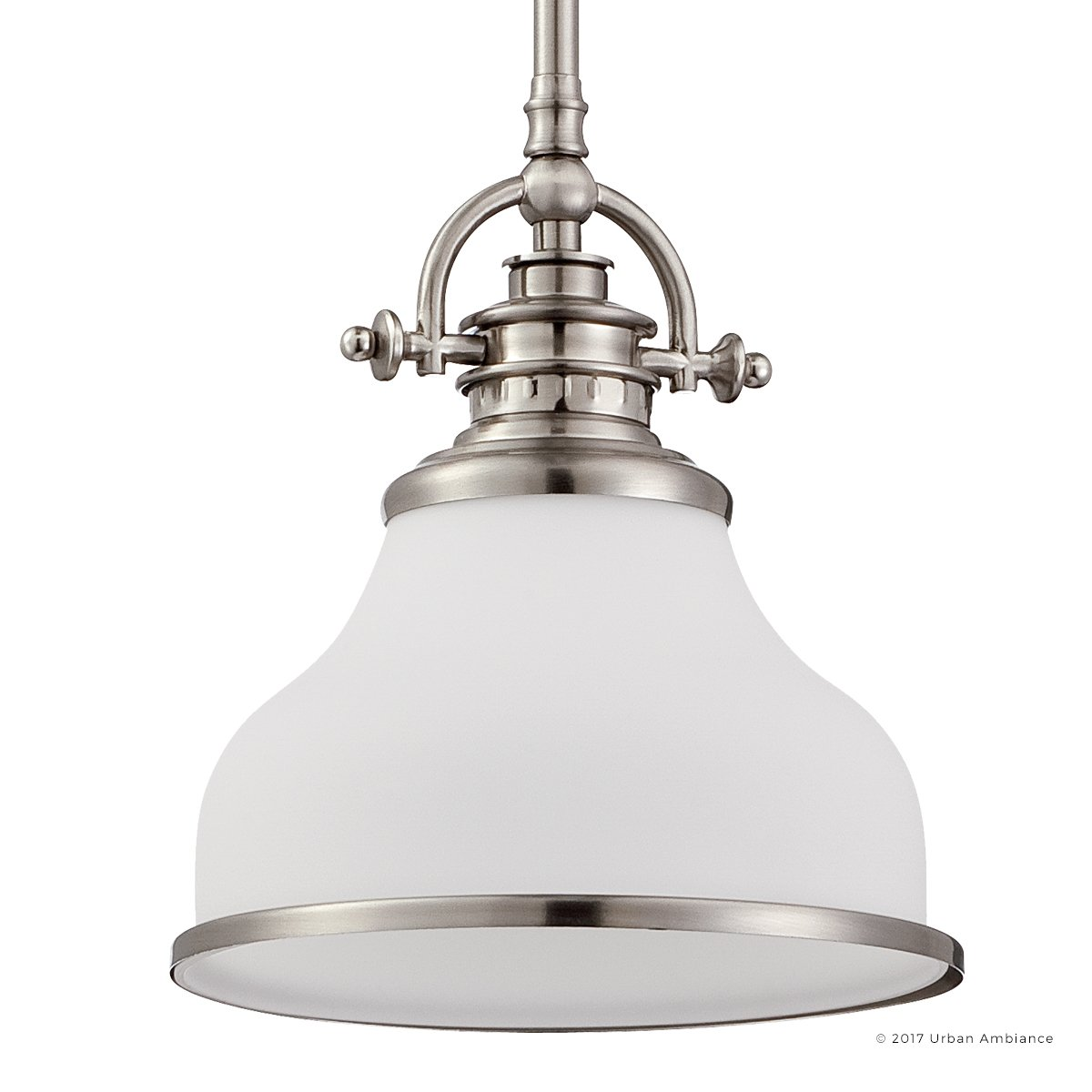 Luxury Industrial Pendant Light, Small Size: 9.5''H x 8''W, with Americana Style Elements, Nostalgic Design, Pretty Brushed Nickel Finish and Opal Etched Glass, UQL2336 by Urban Ambiance by Urban Ambiance (Image #1)