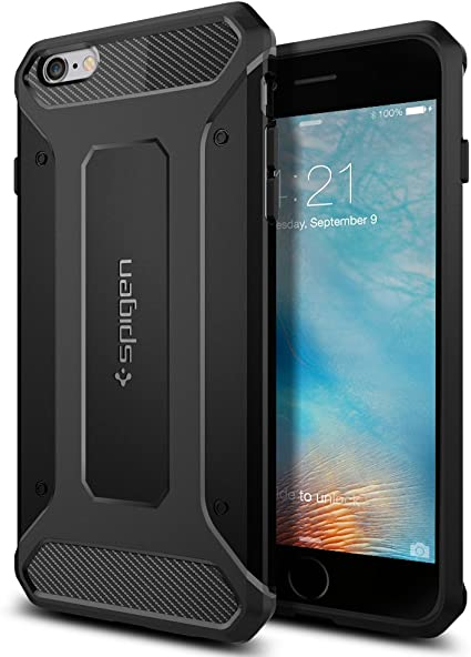Custodia iPhone 6S Plus, Spigen Custodia iPhone 6 Plus [Rugged Armor] Impressionante Black [Design Meccanica Durevole] Massima Protezione Da Cadute e ...