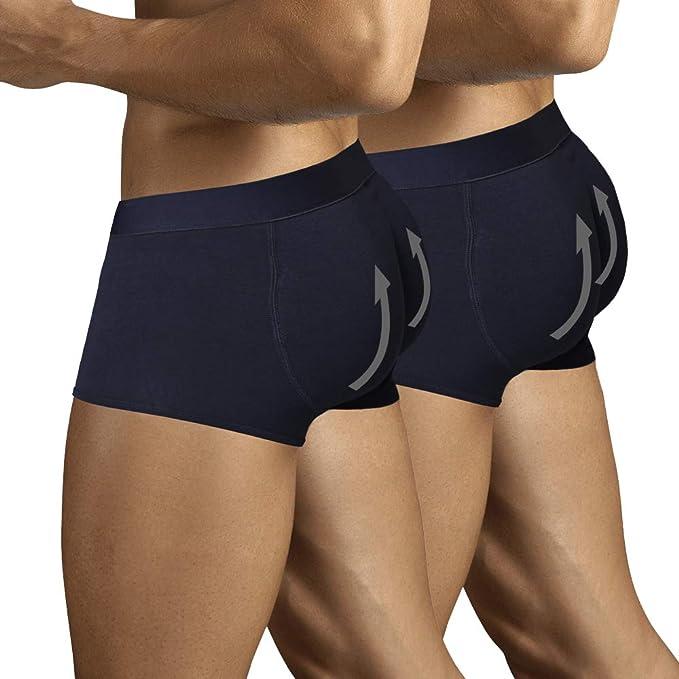 ARIUS Pack 2 Calzoncillos Boxer con Relleno Trasero para Aumentar el Volumen y tamaño de glúteos y Levantar. Los 2 Iguales en Color Negro - Push up y Relleno de Nalgas: Amazon.es: