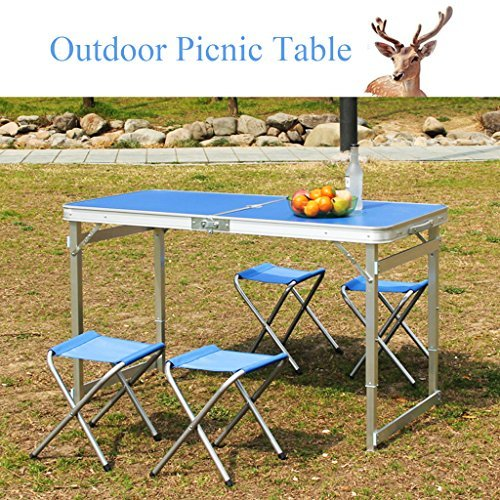 KAKIBLIN Folding Picnic Table with 4 Chairs, Portable Camping Table and Chair Set with Umbrella Hole, Adjustable Height