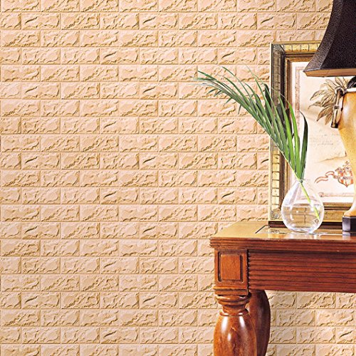 3D Brick Wall Stickers, PE Foam Self-adhesive Wallpaper Removable and Waterproof Art Wall Tiles for Bedroom Living Room Background TV Decor (60 X 30 X 0.8cm, Khaki)