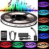 Sunjoyco LED Strip Lights Sync to Music, 16.4Ft/5M LED Light 300 LEDs SMD 5050 Waterproof Flexible RGB LED Light Strip Kit w/IR Remote Controller+12V Power Supply for Indoor Bar Party TV Backlighting