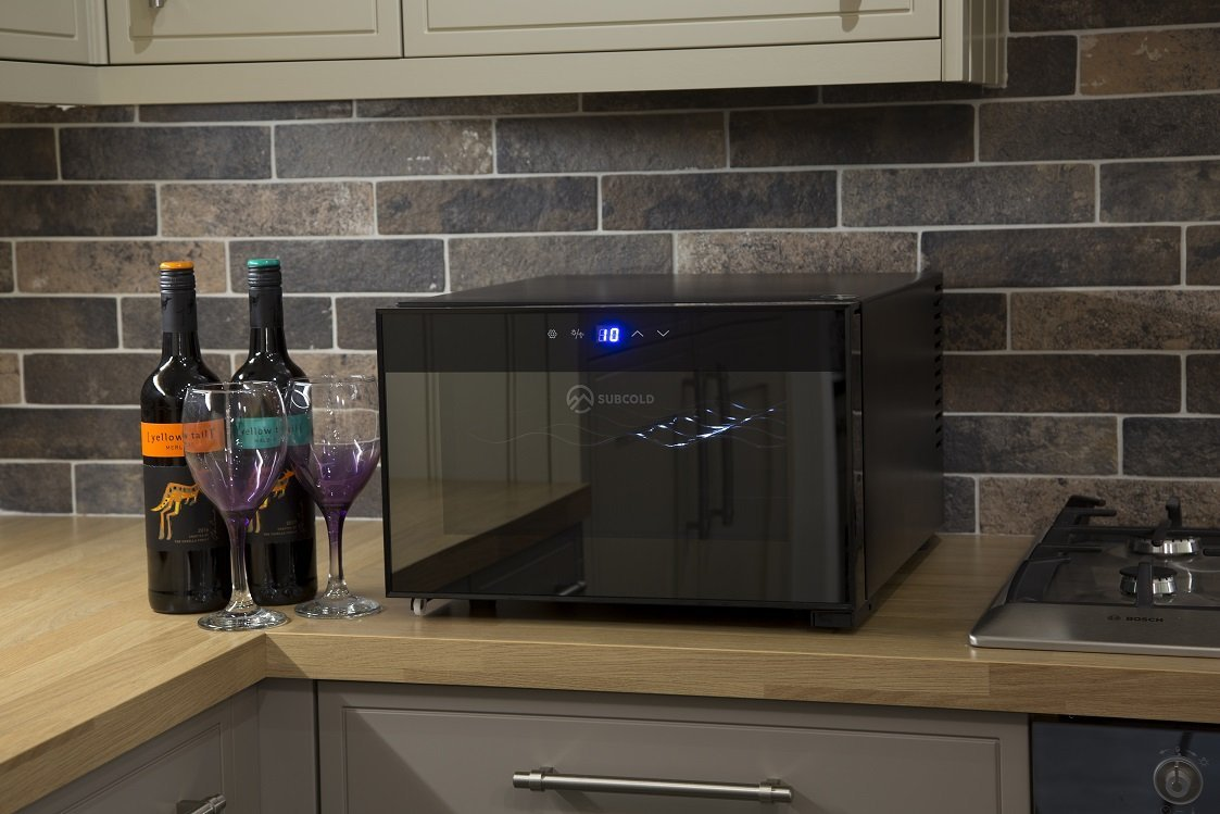 Subcold Super8 LED - Wine Cooler | Drinks Fridge | 8 Bottle Capacity | Smart Digital Touch Display | 20L Black Glass Horizontal Display | Low Energy