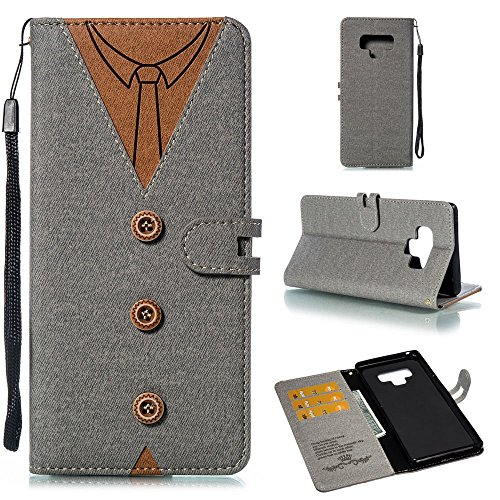 IVY Galaxy Note 9 Wallet Cases,[KickStand][Wrist Strap][Necktie Style][ID/Cash Slot] PU Leather Flip Wallet Holster Case For Samsung Galaxy Note 9 - Gray