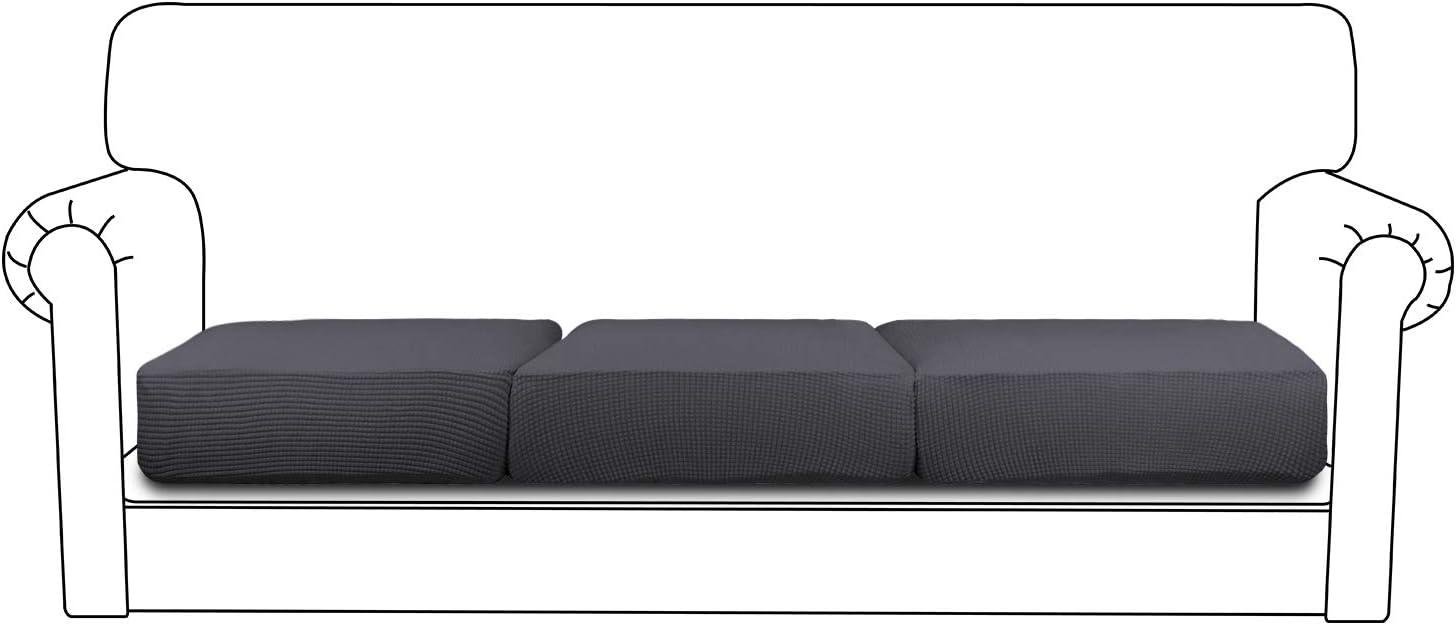 Easy-Going Stretch Chair Cushion Cover Sofa Cushion Furniture Protector Sofa Seat Sofa slipcover Sofa Cover Soft Flexibility with Elastic Bottom(3-Piece Sofa Cushion,Dark Gray)