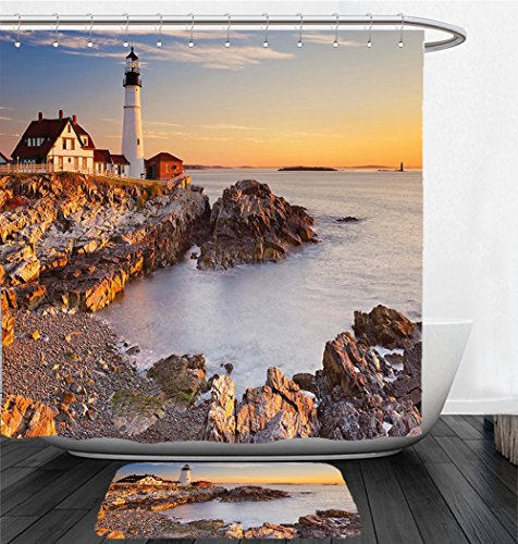 Elizabeth Lighthouse Cape (Nalahome Bath Suit: Showercurtain Bathrug Bathtowel Handtowel United States Cape Elizabeth Maine River Portland Lighthouse Sunrise USA Coast Scenery Light Blue Tan)