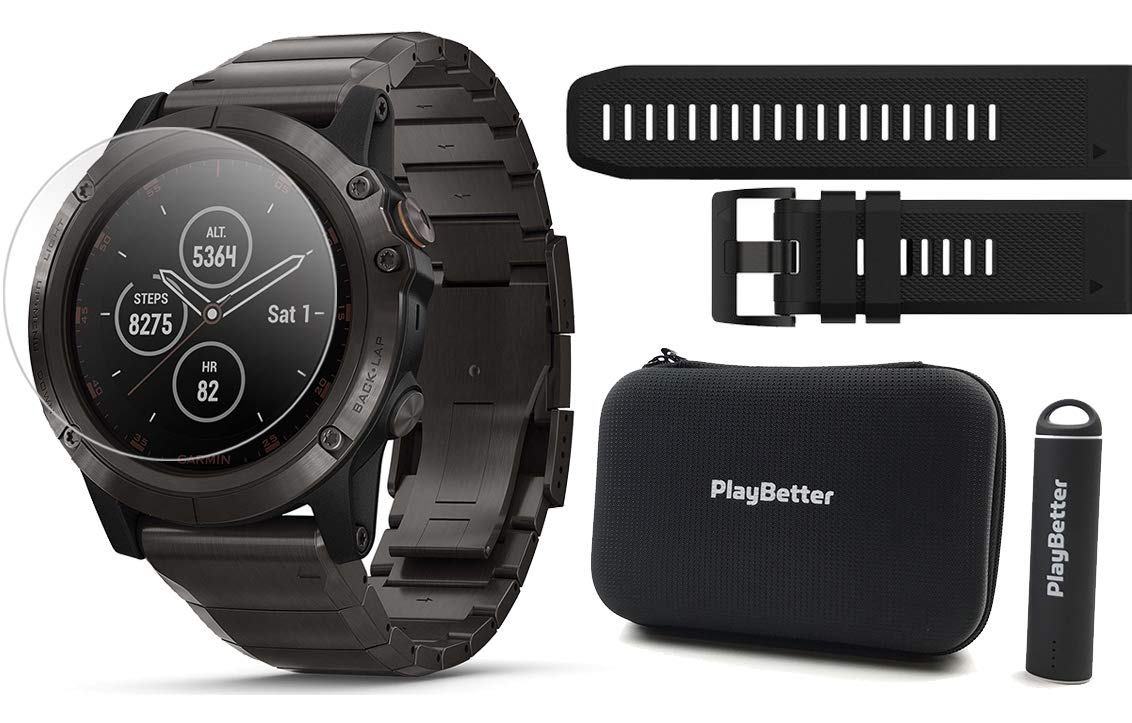 Garmin Fenix 5X Plus+ Sapphire Bundle w/Extra Band, Screen Protectors, PlayBetter Portable Charger & Protective Case | Multisport GPS Watch, TOPO Maps, Garmin Pay, Music (Titanium with Titanium Band)