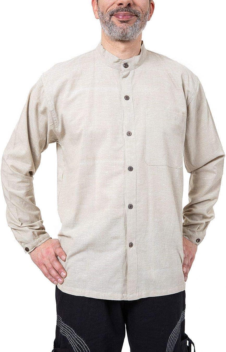 FANTAZIA - Camisa de cáñamo china para hombre, talla S a ...