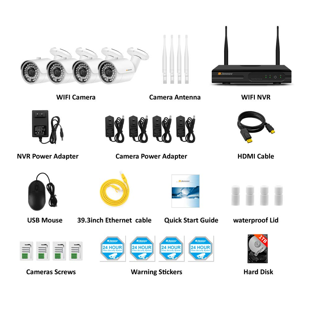 【Newest Strong WiFi Arrival】Jennov Security Camera System Outdoor Wireless 4 Channel HD 1080P WiFi Home IP Video Surveillance Night Vision NVR Kit With Pre-installed 1TB Hard Drive Free Remote Access by Jennov (Image #2)