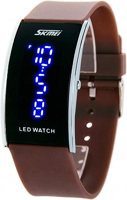 Skmei hombres Unisex del estudiante Casual Sports correa de goma reloj digital LED Time Display luminoso marrón + caja