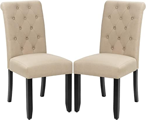 VICTONE Dining Chair Fabric Tufted Upholstered Design Armless Chair Set of 2 Beige
