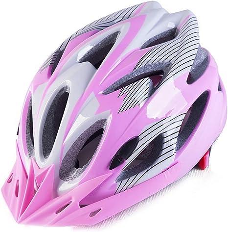 ILKJ Mujer Montaña Casco Bicicleta Rosa y Blanco, Adulto Carretera Ciclismo Casco con Desmontable Visera, MTB Cascos Bici, Montaña, Monopatín, Ajustable (57-63 cm), Forro Desmontables: Amazon.es: Deportes y aire libre