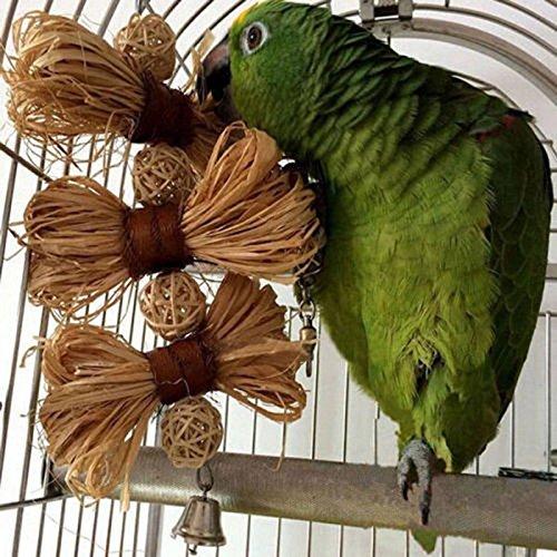 Balls Swing (Ioffersuper Bird Straw Chew Bites Ball Toys Cage Climb Swing Pet Parrot Cockatoo Parakeet EV)