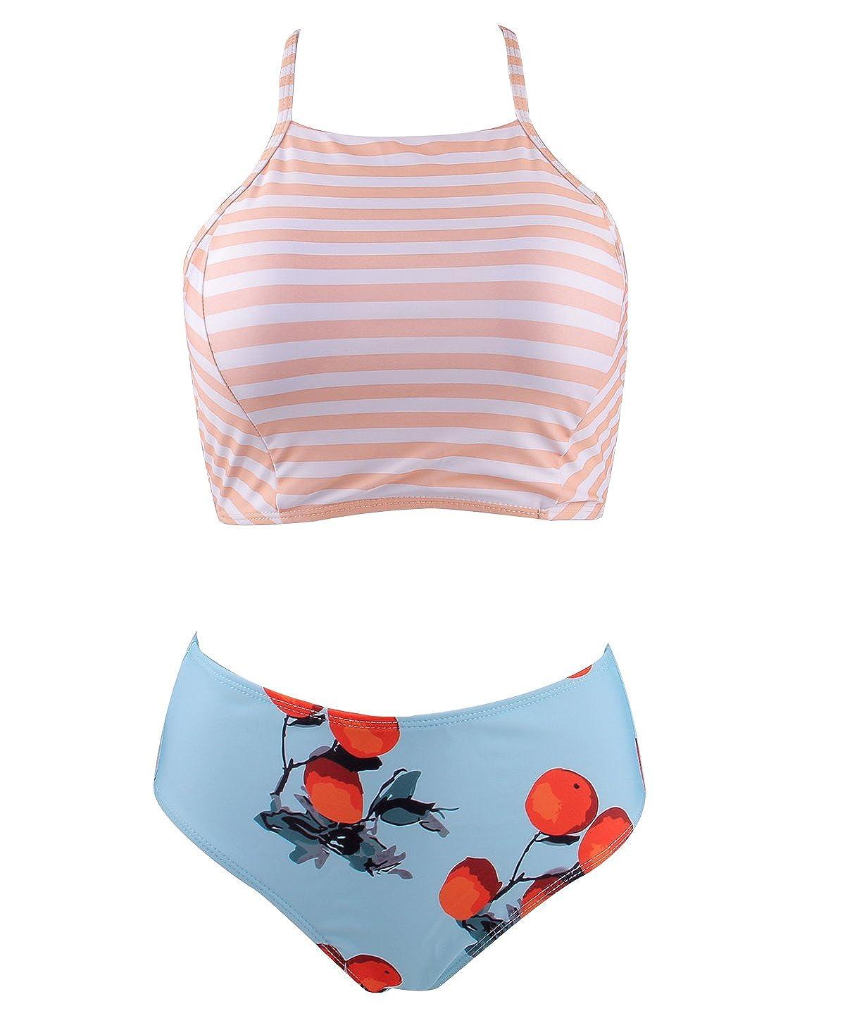 Colorful World Bathing Suits Tankini Striped Bikini for Women High Waisted Retro Swimsuit Two Piece USA-BKN-090