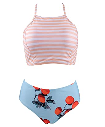 bfa93a9d1f Colorful World Bathing Suits Tankini Striped Bikini for Women High Waisted  Retro Swimsuit Two Piece Striated