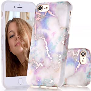 BAISRKE Shiny Rose Gold Marble Design Clear Bumper Matte TPU Soft Rubber Silicone Cover Phone Case Compatible with iPhone 7 (2016) / iPhone 8 (2017) [4.7 inch] - Colorful