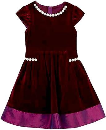 5247ab93e Amazon.com  Rare Editions Little Girls Deep Burgundy Velvet Holiday ...