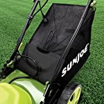 Sun Joe MJ408E 20-Inch 12-Amp Electric Lawn Mower + Mulcher, w/Side Discharge Chute 14 Maintenance free - No gas, oil or tune-ups Detachable grass catcher for easy disposal; Grass collection bag capacity: 14. 5 gal Best use: small to mid-sized lawns