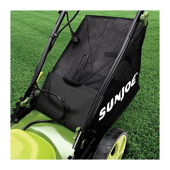 Sun Joe MJ408E 20-Inch 12-Amp Electric Lawn Mower + Mulcher, w/Side Discharge Chute 7 Maintenance free - No gas, oil or tune-ups Detachable grass catcher for easy disposal; Grass collection bag capacity: 14. 5 gal Best use: small to mid-sized lawns