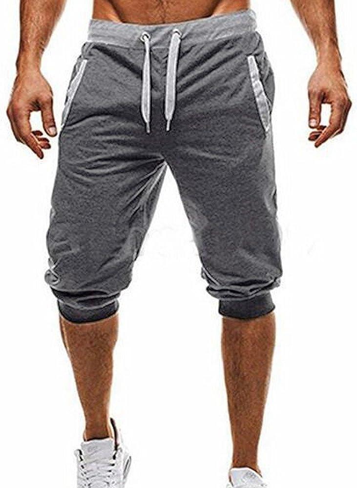 pujingge Men Fashion Sports Pants Summer Elastic Waist Capri Pants Shorts