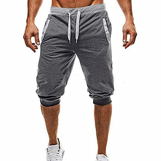 ef28fcee3496 Amazon.com  Hunzed Men Elastic Sports Cropped Trousers  Summer Men Sport  Jogging 3 4 Short Pant Fit Casual Sportswear  Toys   Games
