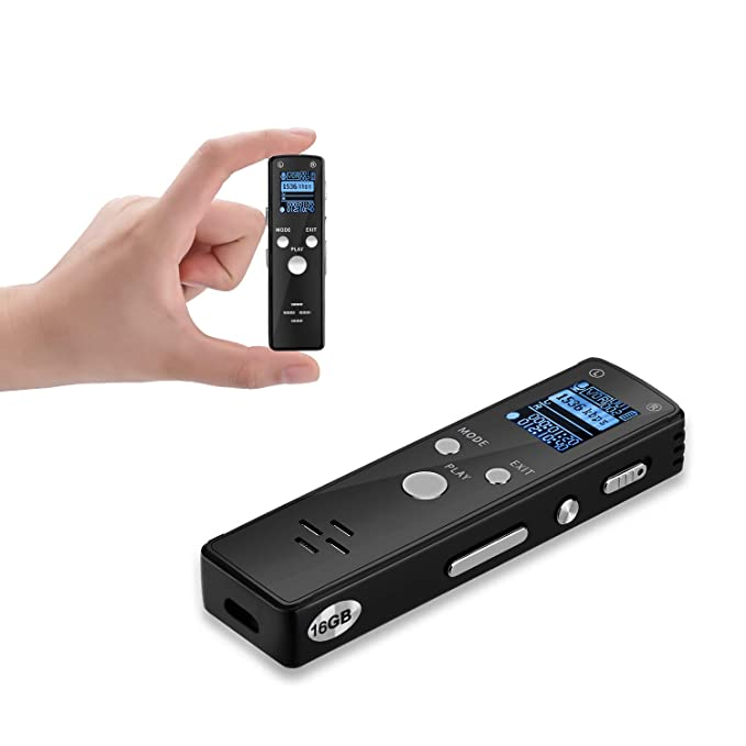 Digital Voice Recorder with Playback 16GB Voice Activated Audio Recorder  Mini Tape Recorder-576 Hours Recordings Capacity-Password Protection-for