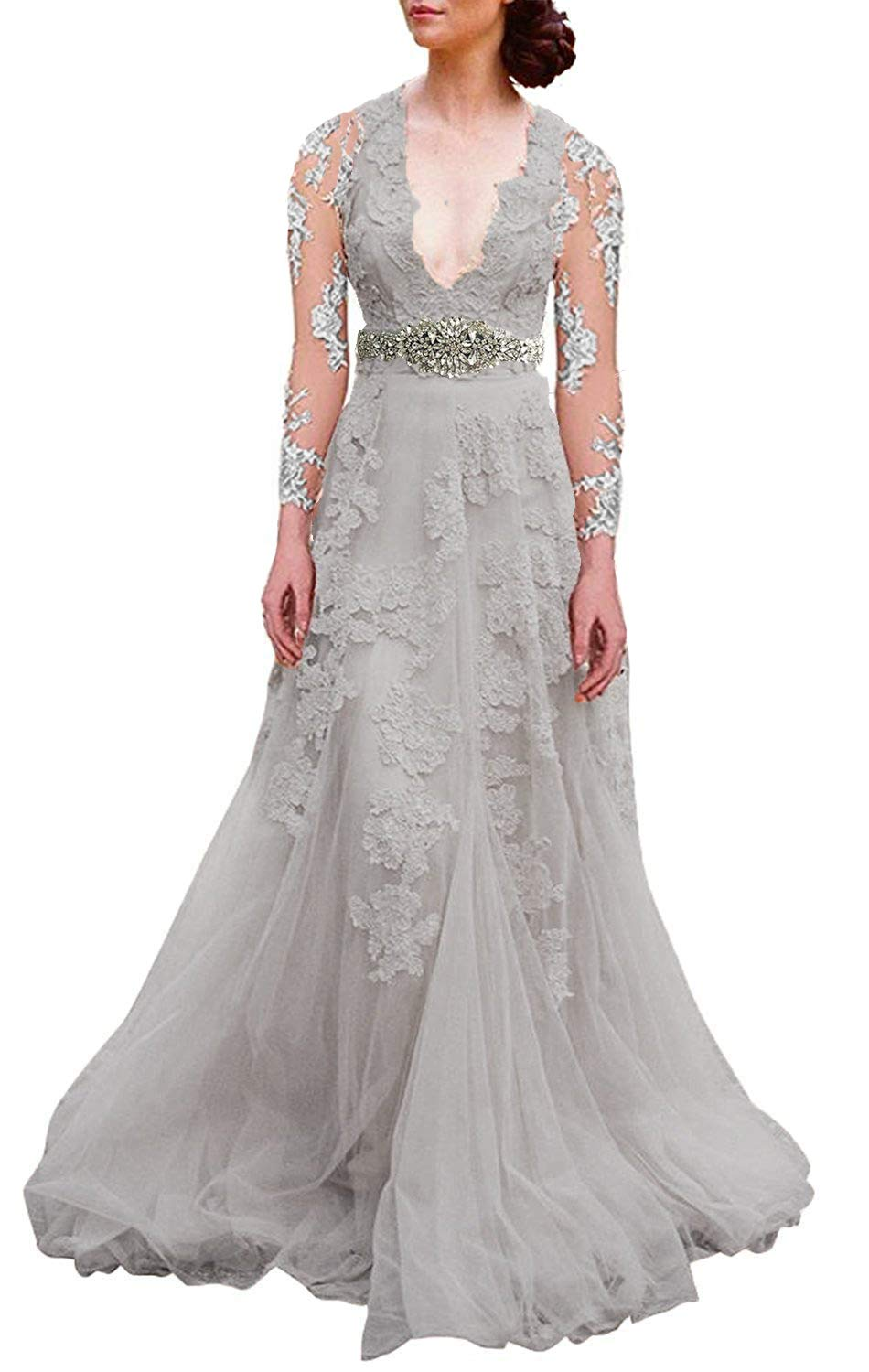 Bellis Womens Vintage V Neck Beaded Lace Wedding Gowns A Line Tulle