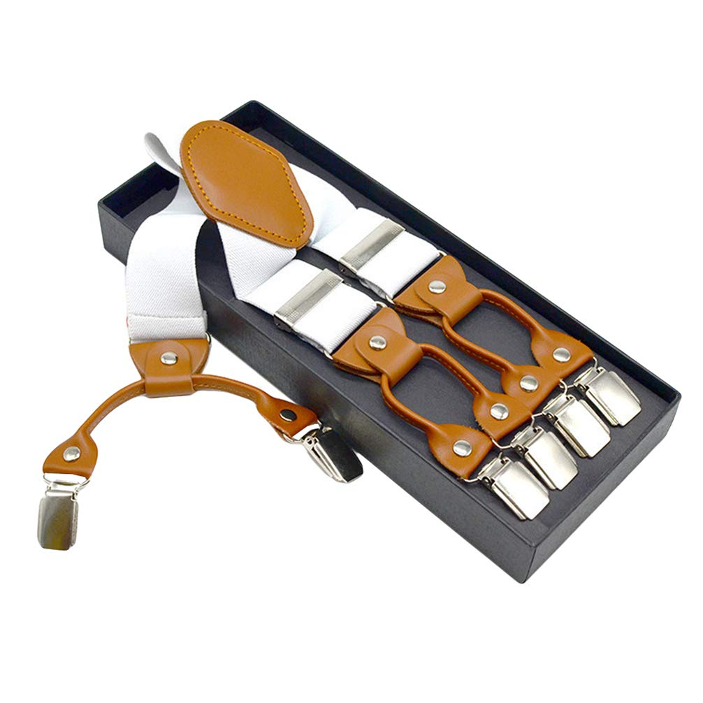 SupSuspen Mens Y Back Adjustable Suspenders 1.4 Wide Heavy Duty Braces /&6 Clips