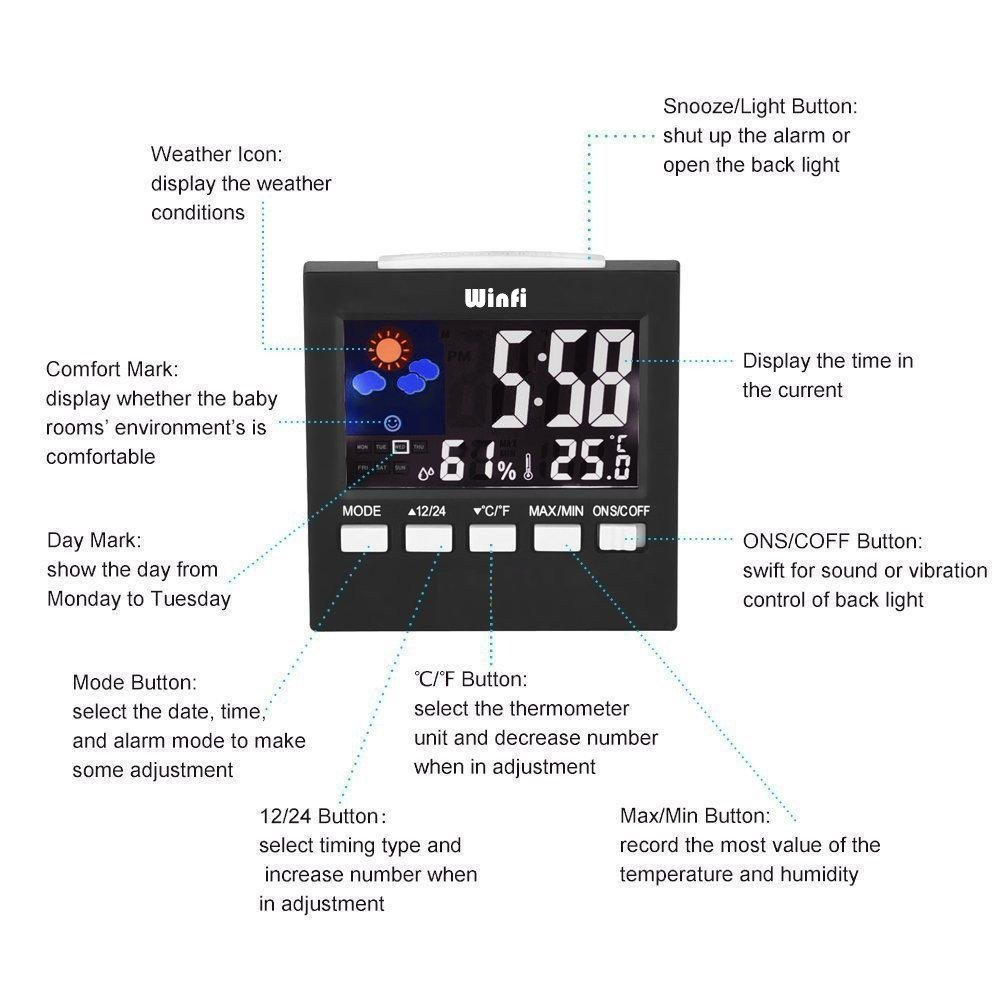 Winfi Digital Indoor Weather Thermometer, Weather Station, Weather Channel Thermometer, Temperature and Humidity Monitor with Alarm Clock, Time Date and Night Lighting LCD Screen Displaying,Black by Winfi (Image #6)