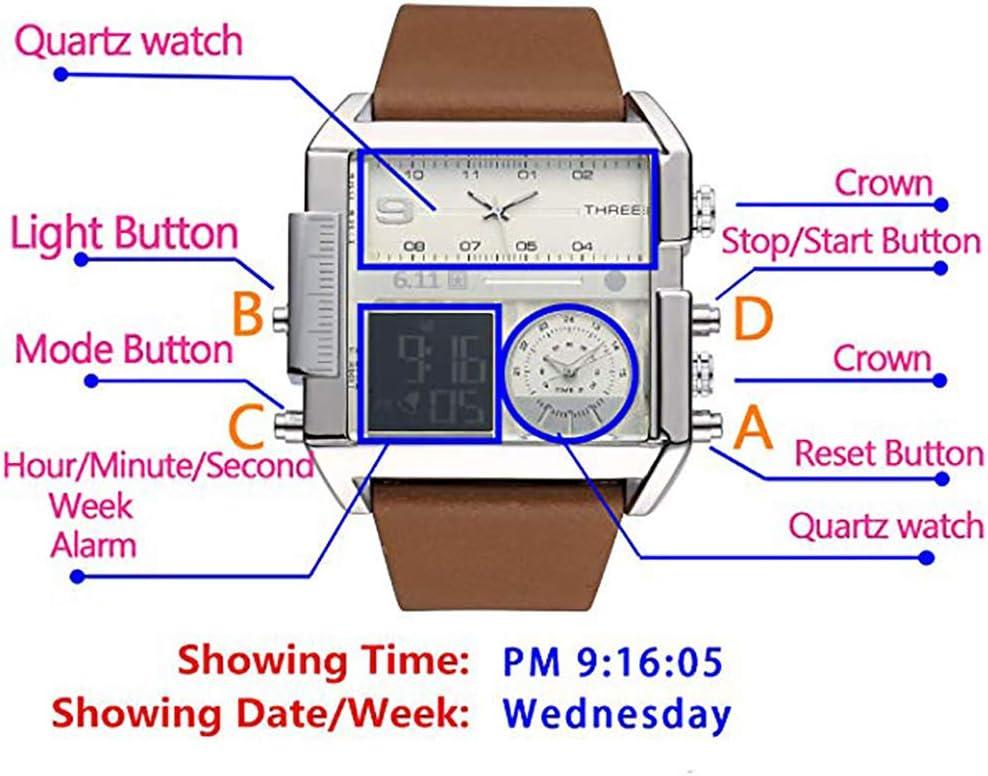 Orologi Sportivi da Uomo con Display Digitale a LED, Orologi Militari - Orologi al Quarzo a più fusi orari per Esterni o Interni C