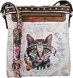 B BRENTANO Cute Animal Graphic Crossbody Bag Purse with Rhinestones (Boho Feline)