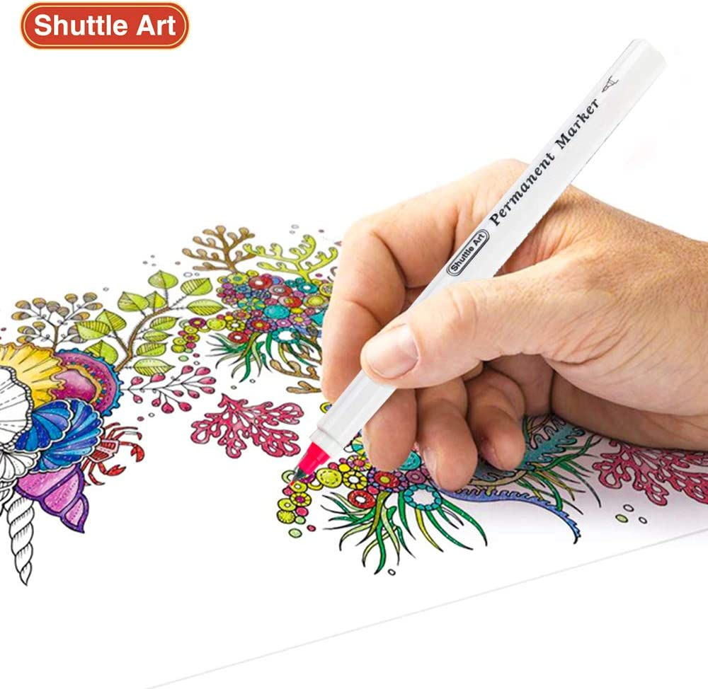 30 Colors Ultra Fine Point Works on Plastic,Wood,Stone,Metal and Glass for Kids Adult Coloring Doodling Marking by Shuttle Art Assorted Colors Permanent Marker