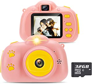 Yidarton Kids Camera for Boys Girls Children Digital Cameras Birthday Toy Gifts Mini Rechargeable Shockproof Camcorder 2.4'' Vedio Camera Toddler Age 3-12 Year Old (32GB Memory Card Included) (Pink)