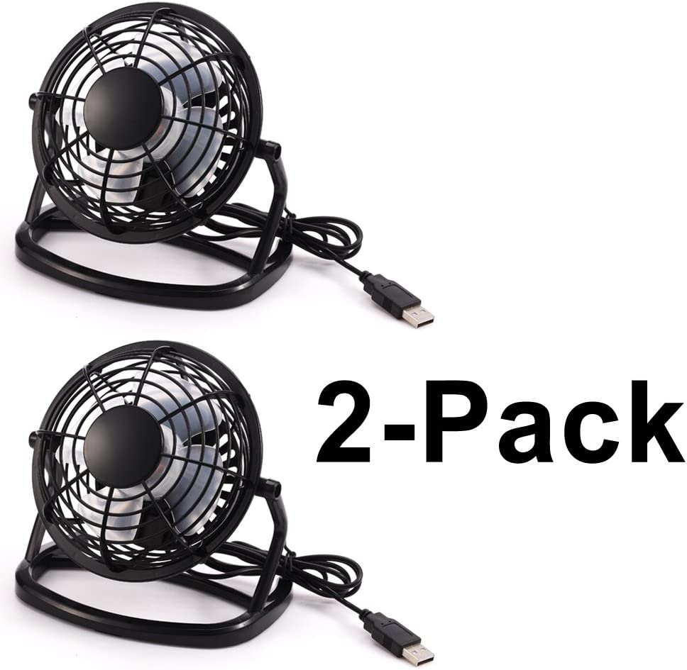 2 Home Travel Office Super Quiet Portable Cooling Fan for PC//Laptop Beszin USB 4 Personal Mini Desktop Fan