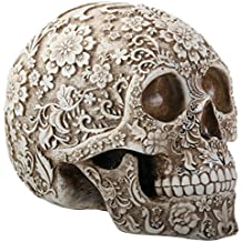 8 Inch White and Light Brown Colored Floral Human Skull Figurine