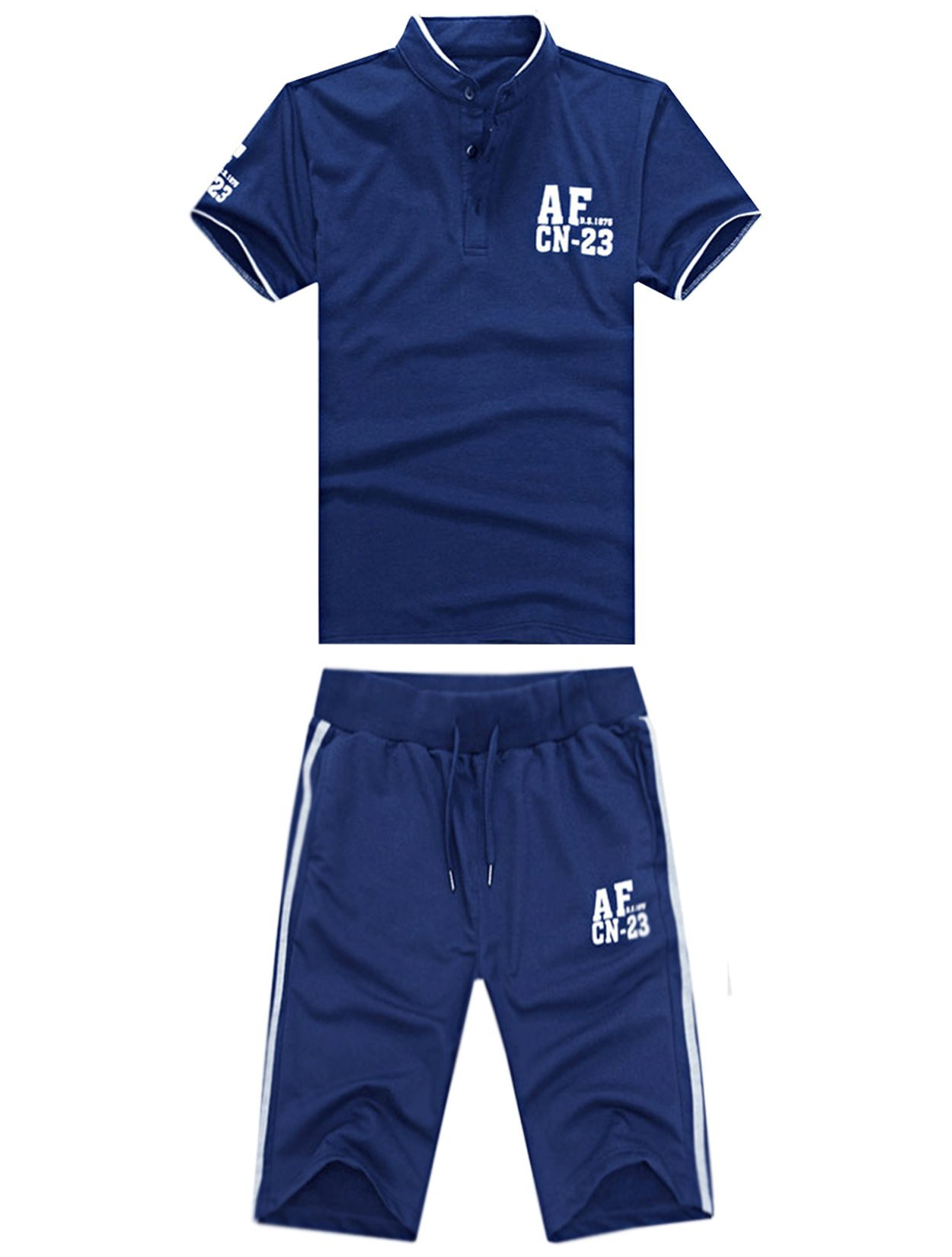 Unomatch Boys Tennis Clothing Short Sleeve T-shirt with Raid Shorts (Medium, Blue)