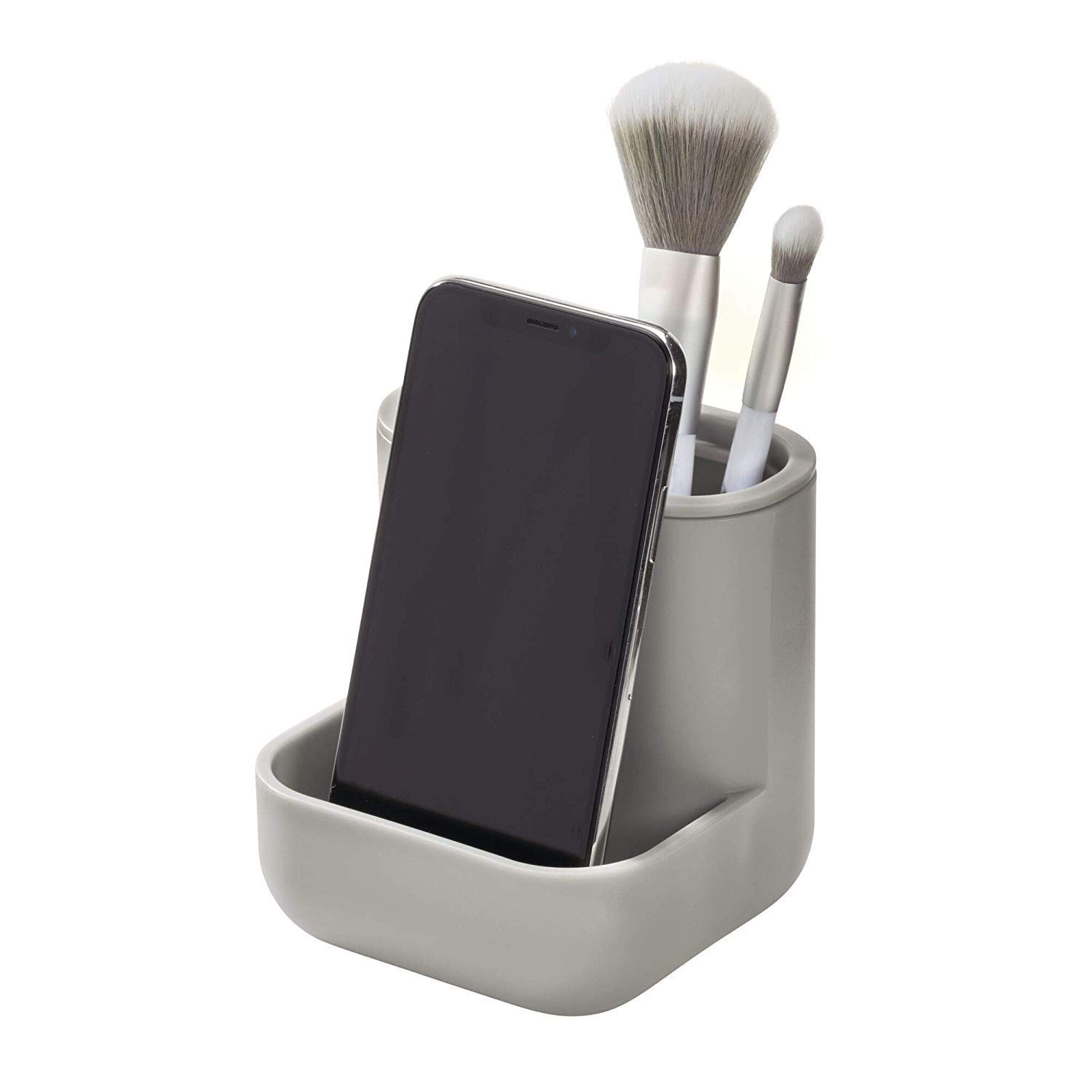 iDesign Cade Plastic Center Perfect for Holding Makeup Brushes, Office Supplies, Jewelry, Cosmetics in Your Drawer, Bathroom, Countertop, Desk, and Vanity, Matte Gray