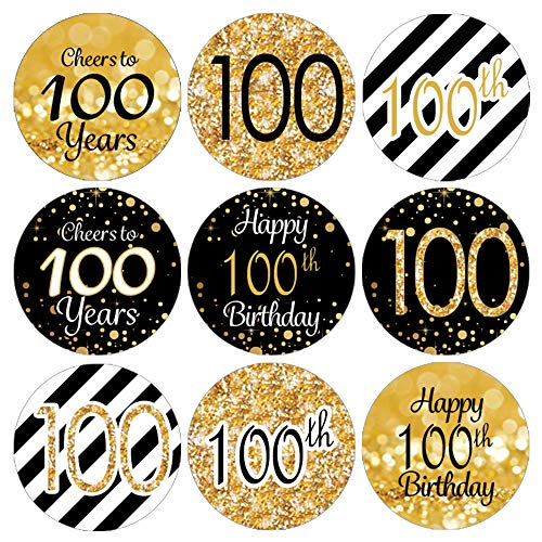 DISTINCTIVS Black and Gold 100th Birthday Party Favor Labels | 180 Stickers]()