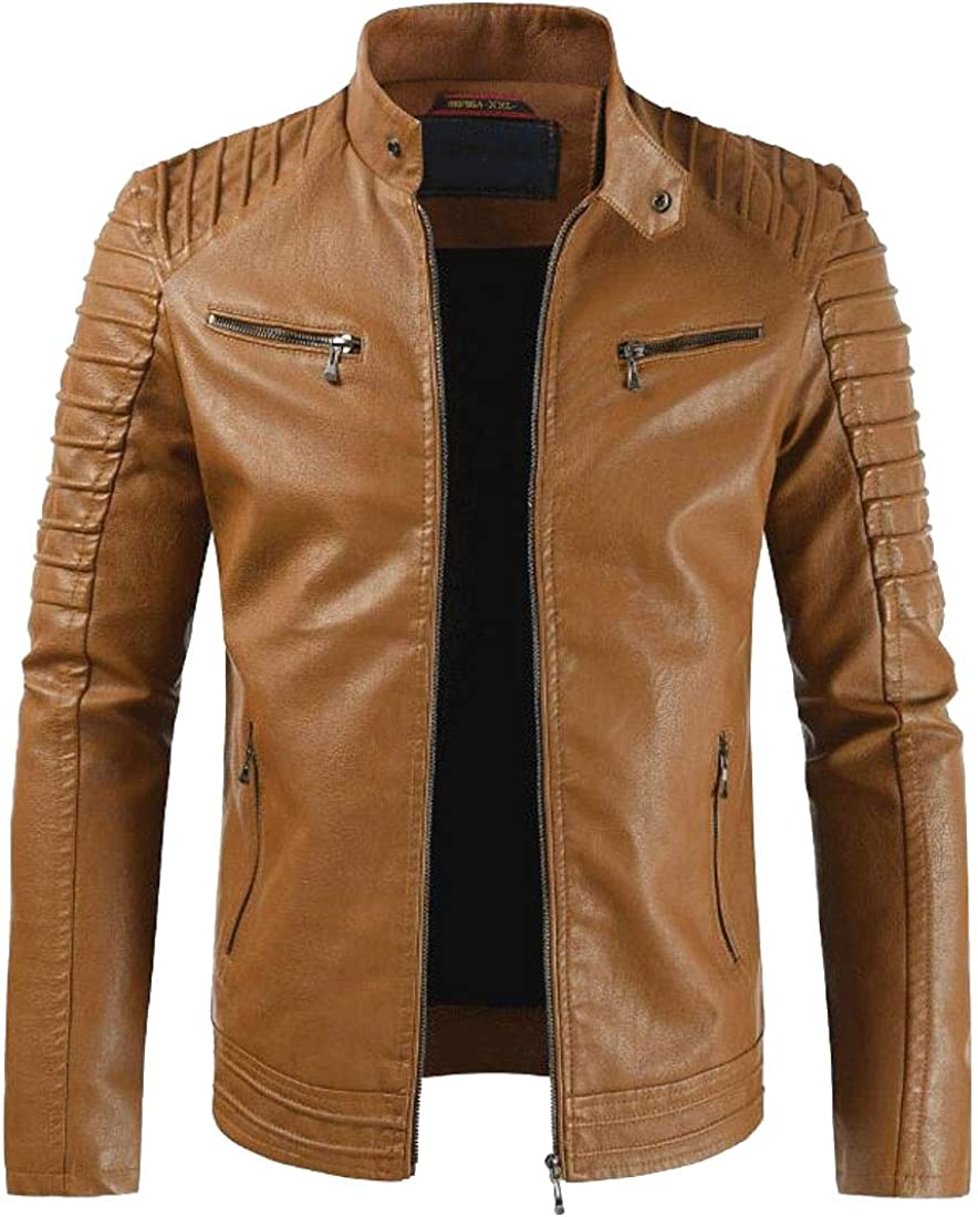 XQS Men Casual Slim Stand Collar Zipper Faux Leather Moto Biker Jackets