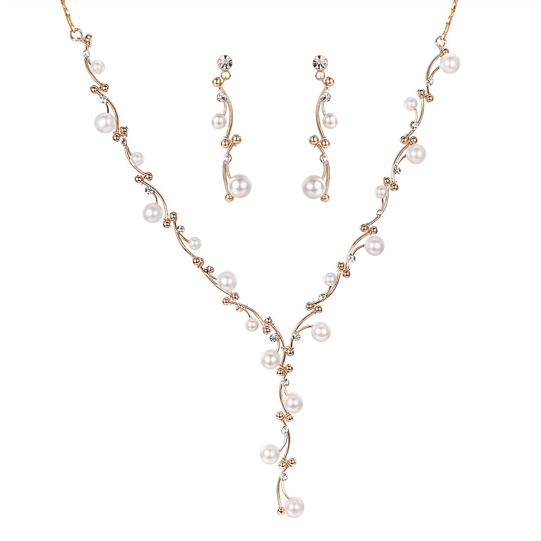 Yoursfs Wedding Jewelry Set Women's Bohemian Boho Teardrop Floral Vine Filigree Statement Necklace Earrings Set Italina