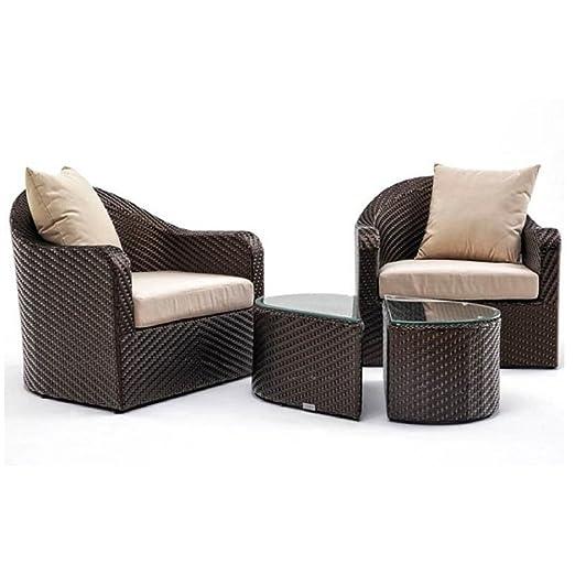 Akula Juego de 2 sillones de jardín tejidos a mano y mesa de ...