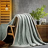 S-line three-layer composite flannel blanket,Gray,180*200