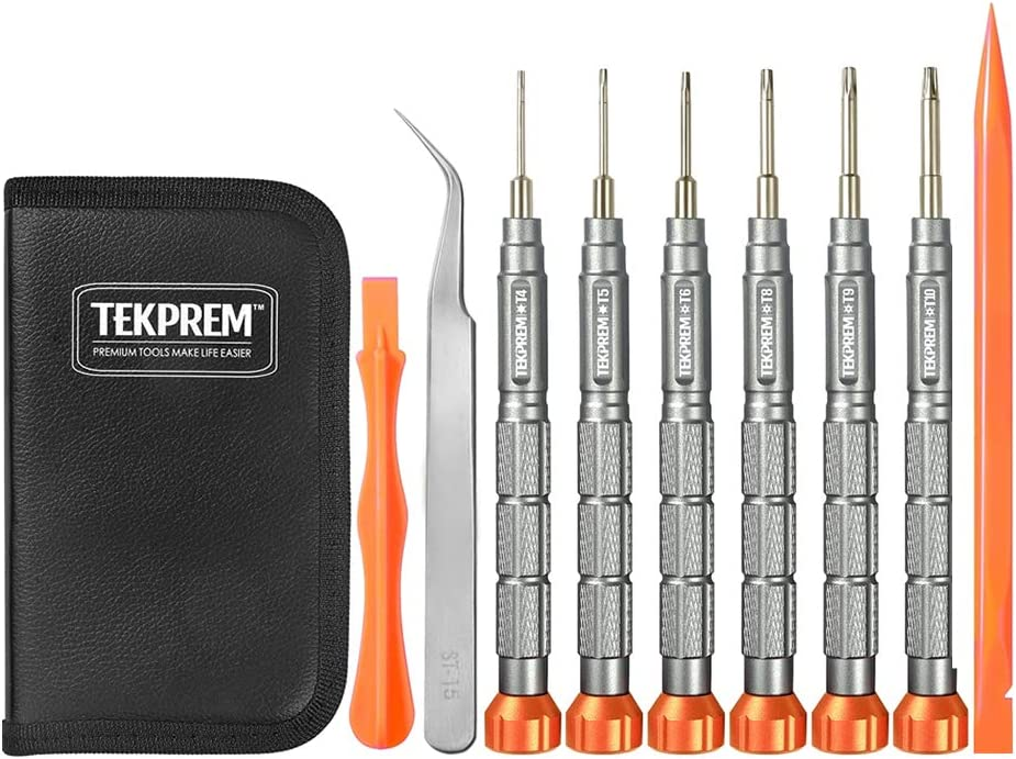 TEKPREM 10 in 1 Torx Screwdriver Set with T4 T5 T6 T8 T9 T10 Torx Security Set,Small Precision Torx Repair Kit for Apple,Macbook,Mac mini,Xbox one Xbox360 Controller,PS3,PS4,Computer and Pocket Knives