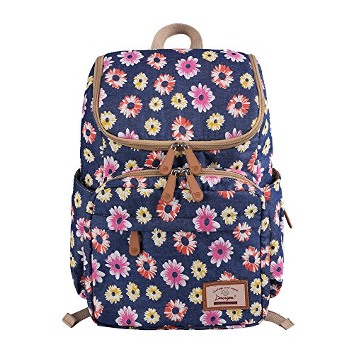 Floral Print Diaper Backpack Large Capacity Nappy Bags Multi-Functional Mummy Travel Backpack for Baby Care, Stroller Straps,Changing Pad ()